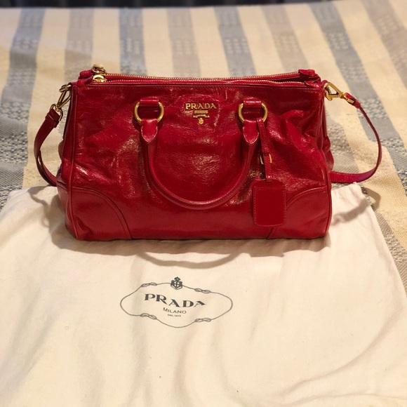 15626a97f95d3b Prada Bags | Red Patent Vitello Saffiano Shine Tote Bag | Poshmark